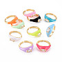Mixed Color Brass+Cubic Zirconia Finger Rings(RJEW-S045-083-NR)