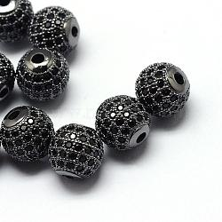 Rack Plating Brass Cubic Zirconia Beads, Long-Lasting Plated, Round, Gunmetal, 8x7mm, Hole: 2mm(ZIRC-S001-8mm-B04)