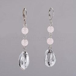 Boucles d'oreilles à levier en quartz rose naturel, facette, avec des perles de coquillages, clou tête boule en fer et accessoires de dormeuse en laiton, 57~60mm, pendentif: 18~19x13~13.5x6~7 mm(EJEW-JE02819-05)