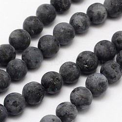 Natural Labradorite Beads Strands, Frosted, Round, 8mm, Hole: 1mm; about 48pcs/strand, 15.1inches