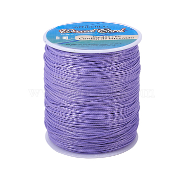 BENECREAT Waxed Polyester Cord, Lilac, 1mm; about 200yards/roll(600 feet/roll)(YC-BC0001-01B)