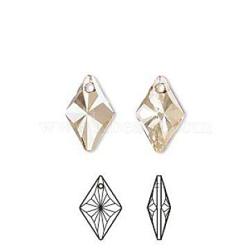 Austrian Crystal Rhinestone, 6320, Crystal Passions, Faceted, Rhombus Pendant, 001GSHA_Crystal Golden Shadow, 19x13x6mm, Hole: 1.5mm(6320-19mm-001GSHA(U))