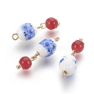Porcelain Pendants, with Glass Beads and Brass Findings, Oval with Round, Light Gold, Red, 26x8mm, Hole: 1.8mm(X-KK-F769-14LG)