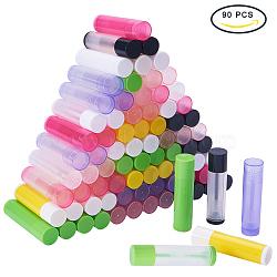 DIY bouteille de rouge à lèvres vide, tube de brillant à lèvres, tube de baume à lèvres, avec bouchon, couleur mixte, 67x15~16.6mm(DIY-PH0018-37)
