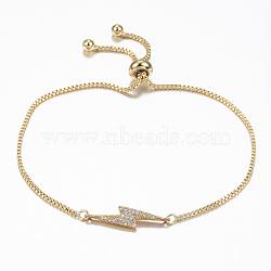 bracelets coulissants flash réglables en laiton zircon cubique micro pavé, bracelets bolo, éclair, or, 10-1 / 4 (260 mm); 1.2 mm(BJEW-E317-38G)