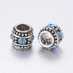 Alloy Rhinestone Beads, Large Hole Beads, Column, Antique Silver, Light Sapphire, 10x8.5mm, Hole: 5.5mm(ALRI-G057-01AS)
