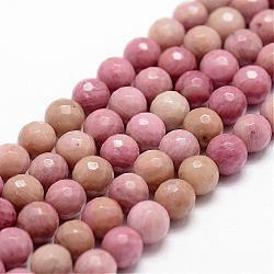 """Chapelets de perles en rhodochrosite naturelle, facette, rond, 8mm, trou: 1mm; environ 44 pcs/chapelet, 14.9""""~15.1""""(G-D840-16-8mm)"""