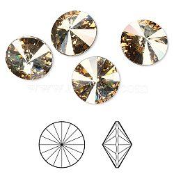 cristal autrichien cabochons de strass, 1122, Rivoli Chaton, facettes, déjouer retour, 001 gsha_cristal d'ombre d'or, 6.14~6.32 mm(X-1122-SS29-F001GSHA)