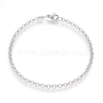 304 Stainless Steel Rolo Chain Bracelets, with Lobster Claw Clasps, Stainless Steel Color, 7-1/4inches(18.5cm), 3mm(BJEW-P235-04P)