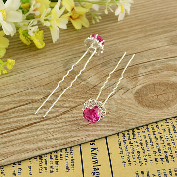 Lady's Bride Accessories Silver Color Plated Iron Glass Rhinestone Flower Hair Forks, Flat Round, MediumVioletRed, 72mm; 20pcs/box(PHAR-S196-09)