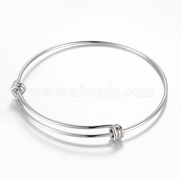 Adjustable 304 Stainless Steel Expandable Bangle Making, Stainless Steel Color, 2-3/8 inches(61mm)(X-BJEW-G515-05P)