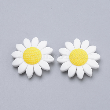 Food Grade Environmental Silicone Beads, Chewing Beads For Teethers, DIY Nursing Necklaces Making, Sunflower, White, 40x10mm, Hole: 3mm(X-SIL-Q011-02A)