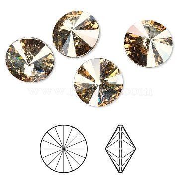 Austrian Crystal Rhinestone Cabochons, 1122, Rivoli Chaton, Faceted, Foil Back, 001GSHA_Crystal Golden Shadow, 6.14~6.32mm(X-1122-SS29-F001GSHA)