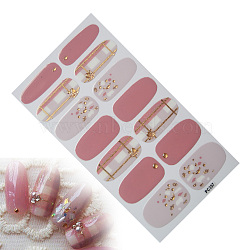 Full Cover Nail Art Stickers, Self-adhesive, For Nail Tips Decorations, Grid Pattern, Colorful, 10.5x5.7cm(X-MRMJ-Q084-PC357)