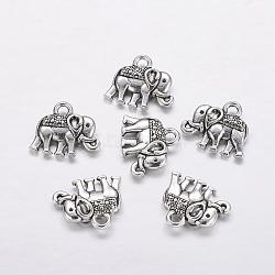 Breloques  de style tibétain, sans plomb et sans nickel, éléphant, argent antique, 12x13x3mm, Trou: 2mm(X-TIBEB-5020-AS-FF)