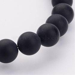 Grade A Natural Black Agate Beads Strands, Dyed, Frosted, Round, 8mm, Hole: 1.2mm; about 48pcs/strand, 16inches