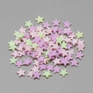 Handmade Polymer Clay Cabochons, Star, Mixed Color, 4~5x5x0.3~1mm(X-CLAY-Q242-01)