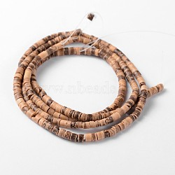 Natural Coconut Column Bead Strands, 3~4x1.5~5mm, Hole: 1mm, about 208pcs/strand, 23.6 inches(COCB-O001-14)