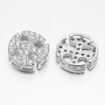 Platinum Cross Sterling Silver+Cubic Zirconia Beads