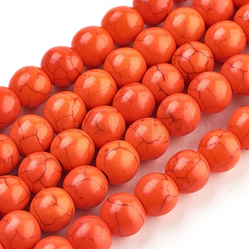 8mm OrangeRed Round Synthetic Turquoise Beads