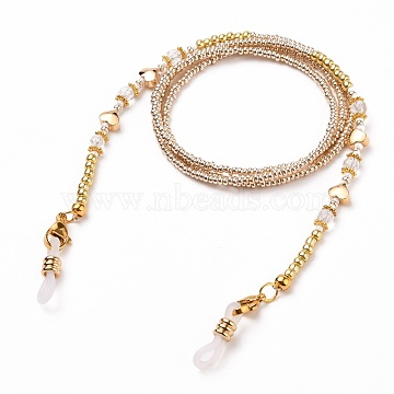 Eyeglasses Chains, Neck Strap for Eyeglasses, with Glass Seed Beads, Gemstones Beads, Alloy & Brass Beads, 304 Stainless Steel Lobster Claw Clasps and Rubber Loop Ends, Clear, 28.54 inches(72.5cm)(AJEW-EH00283-02)