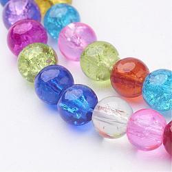 16 fils de verre craquelés ronds de couleur mélangée, 6 mm, environ 66 pcs / brin, trou: environ 1 mm(X-GGM002)