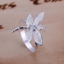 laiton libellule anneaux zircone cubique de doigts pour les femmes, argent, taille 8, 18.1 mm(RJEW-BB12019-8)