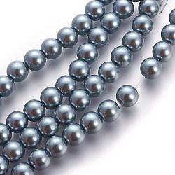 Chapelets de perles en verre nacré, nacré, rond, gris <p> taille: environ 6mm de diamètre, Trou: 1mm, environ 140 perle / Chapelet.(X-HY-6D-B19)