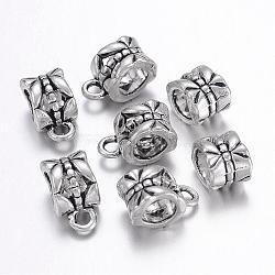 tibétains cintres argent, renflouer perles, sans plomb, sans cadmium et sans nickel, Coupe, argent antique, sur 11.5 mm de long, 6 mm de large, 8 mm d'épaisseur, diamètre intérieur: 4.3x4.4 mm; trou: 2 mm(X-LF0327Y-NF)
