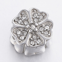 304 Stainless Steel Rhinestone Beads, Flower, Stainless Steel Color, 10x8.5mm, Hole: 2mm(STAS-F150-089P)