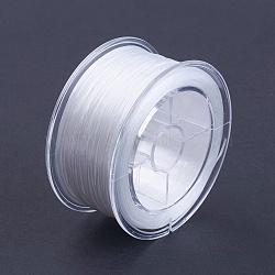 Chaîne de cristal élastique plat, fil de perles élastique, pour la fabrication de bracelets élastiques, blanc, 1 mm; environ 50 m/rouleau(EW-I001-1mm-01)