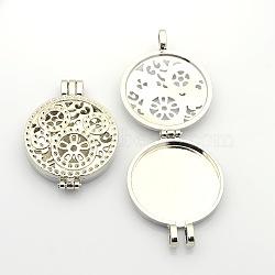 Plat creux photo rond cadres diffuseur en alliage pendentifs médaillon, platine, plateau: 30 mm; 44x33x9 mm, Trou: 4mm(PALLOY-J413-18P)