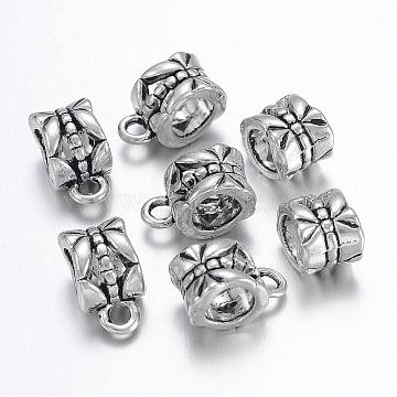 Tibetan Style Alloy Hangers, Bail Beads, Lead Free, Cadmium Free and Nickel Free, Cup, Antique Silver, about 11.5mm long, 6mm wide, 8mm thick, Inner Diameter: 4.3x4.4mm; hole: 2mm(X-LF0327Y-NF)