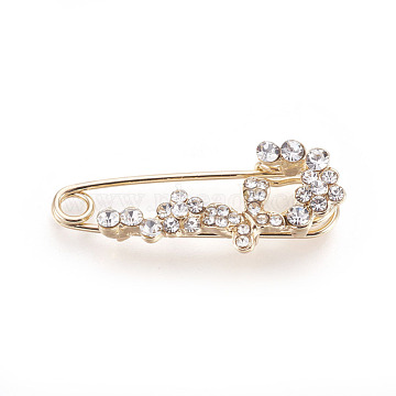 Golden Plated Alloy Broochs, with Rhinestone, Crystal, 35x14x8mm, Pin: 1mm(JEWB-WH0003-10G)