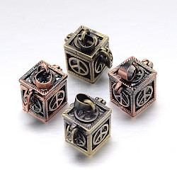 Cube avec signe de paix modèle en rack placage laiton prière boîte pendentifs, boîte souhaiter, sans nickel  , couleur mixte, 18x12x17mm, Trou: 5x3mm(KK-L101-15-NF)