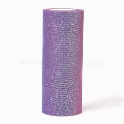 Tissu de filet de polyester, Tissu à carreaux en tulle pour la fabrication de jupe, colorées, 150 mm; 10 mètres / rouleau(OCOR-WH0020-02B)