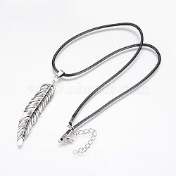 """Collier en cordon ciré avec pendentif, avec chaîne d'extension en fer et alliage, plume, argent antique, 17.7"""" (45 cm)(NJEW-G296-04AS)"""