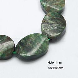 perles de pierres précieuses vertes naturelles, torsion, ovale, 18x13x5 mm, trou: 1 mm(G-G237-13x18mm-03)