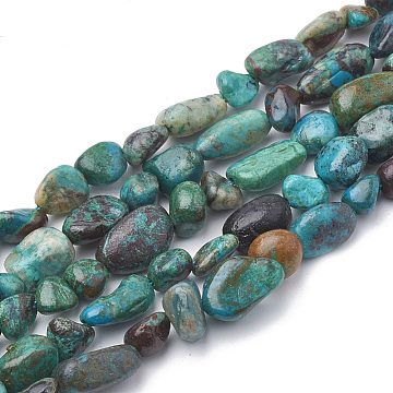 Natural Chrysocolla Beads Strands, Nuggets, 2~19x3~8x2~7mm, Hole: 1mm, about 50~55pcs/strand, 15.55 inches(X-G-S339-12)