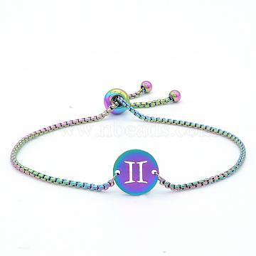 """Bracelets réglables en 201 acier inoxydable, bracelets bolo, avec des chaînes de boîte, plat rond avec constellation / signe du zodiaque, gemini, 9-1/2"""" (24 cm)(STAS-S105-JN664-3)"""
