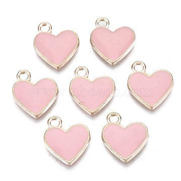 Alloy Enamel Charms, Heart, Golden, Pink, Golden, 12x11x1.5mm, Hole: 1.5mm(X-ENAM-S113-18E)