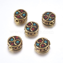 Handmade Indonesia Beads, with Brass Findings, Nickel Free, Flat Round, Raw(Unplated), Green, 12~13x6~7.5mm, Hole: 2mm(IPDL-F023-21A)