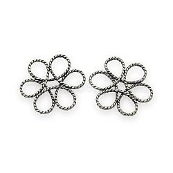 Laiton perles de fil de fleurs, sans nickel, argent antique, 26x24x3mm, Trou: 6x7mm(KK-J187-76AS-NF)
