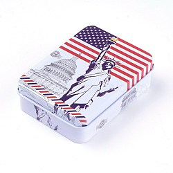 Mini Cute Tinplate Storage Box, Jewelry Box, Candy Box, Rectangle with the Statue of Liberty Pattern, Red, 9.5x6.9x2.6cm(X-CON-WH0061-A01)