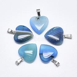 Подвески из натурального полосатого агата / полосатого агата, окрашенные, с защелкой из нержавеющей стали на поручнях, сердце, цвет нержавеющей стали, голубой, 22~24x20~21x5~7 мм, отверстие : 3~4x7~8.5 мм