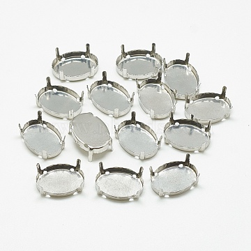201 Stainless Steel Rhinestone Claw Settings, Oval, Stainless Steel Color, Tray: 16.5x11.5mm; 17x12x6mm, Hole: 1mm(STAS-T032-03-13x18mm)