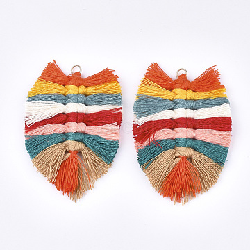Polycotton(Polyester Cotton) Tassel Big Pendant Decorations, with Iron Findings, Light Gold, Colorful, 83~90x55~58x7~8mm, Hole: 5mm(X-FIND-T035-02B)
