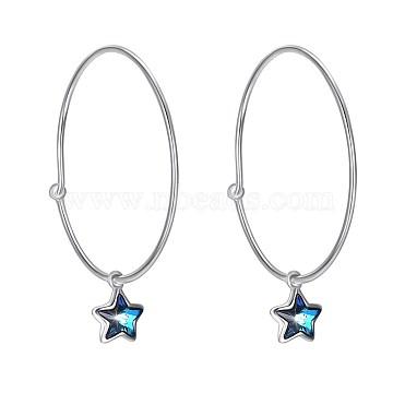 925 Sterling Silver Hoop Earrings, with Austrian Crystal, Star, Platinum, 229_Blue Zircon, 30x7mm(EJEW-BB30561)