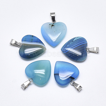 Natural Banded Agate/Striped Agate Pendants, Dyed, with Stainless Steel Snap On Bails, Heart, Stainless Steel Color, SkyBlue, 22~24x20~21x5~7mm, Hole: 3~4x7~8.5mm(X-G-T122-24G)