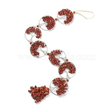 Natural Red Jasper Car Hanging Decorations, with Nylon Cord and Brass Findings, Round Ring with Tree of Life, 535~560mm(HJEW-L026-02P)